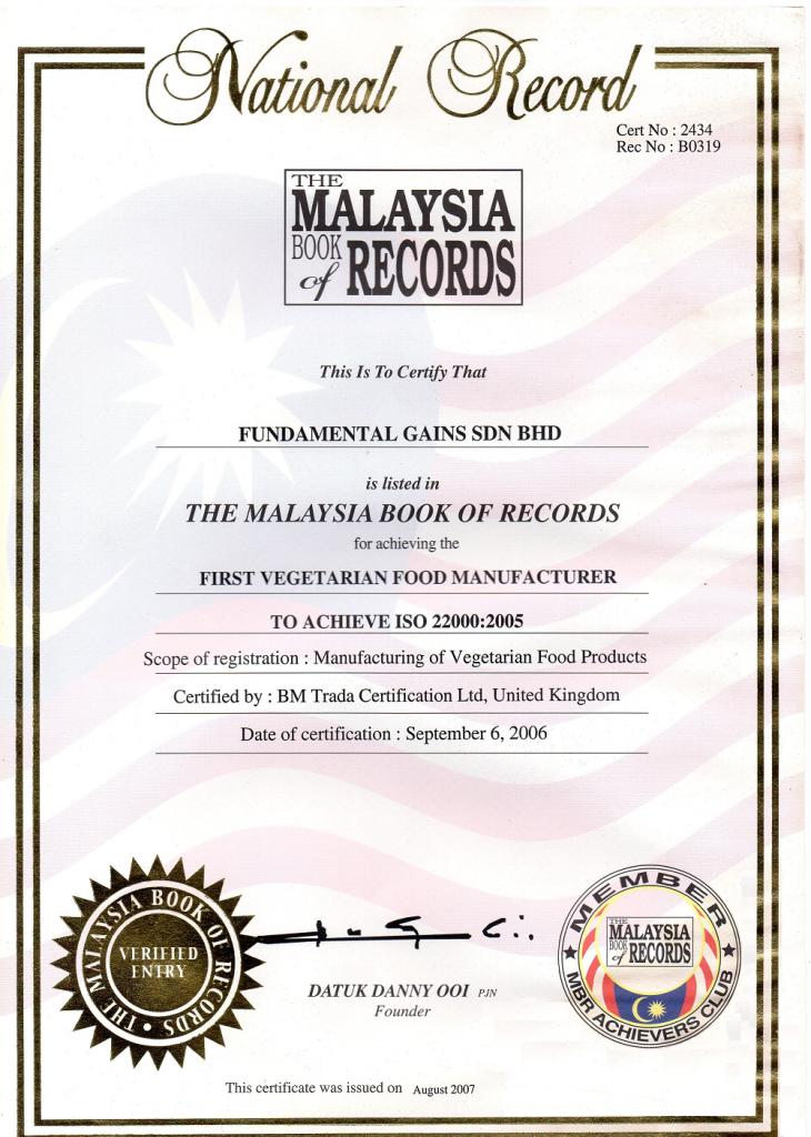 Our Certificates Teik Beng Vege